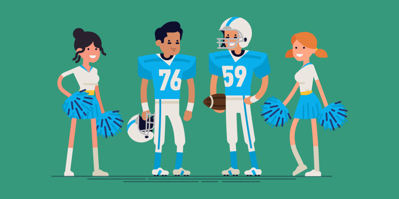 Two American Football players with cheerleaders
