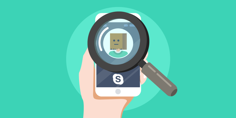 Skype Smartphone call with magnifying glass