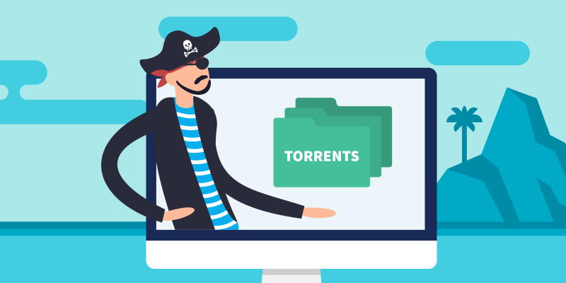 "Pirate on laptop holding his hand under folders that say ""Torrents"""