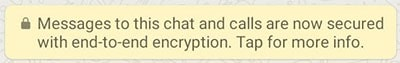 WhatsApp end-to-end encryption message